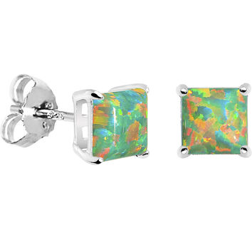 6mm Green Square Sterling Silver Synthetic Opal Stud Earrings