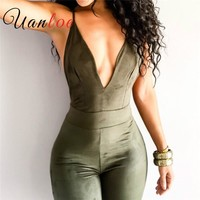 UANLOE Women's Strap Back Openwork Skinny Jumpsuits Outfits Faux Suede Full Length Rompers Bodycon Jumpsuit Bodysuit Overalls