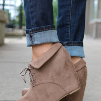 So Posh Wedge Bootie - Taupe