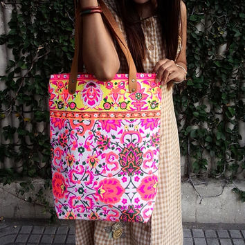 Paint bag Colorful Neon Printed Tribal bag Vivid by OwlNightMare