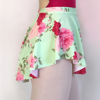 Mint Floral Dance Ballet Skirt Lycra/ Spandex by RoyallDancewear