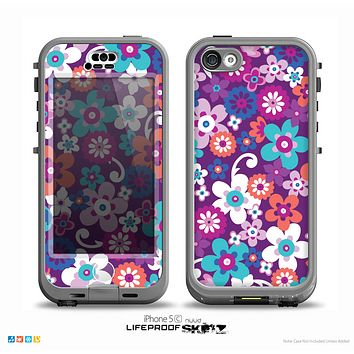 The Colorful Purple Flower Sprouts Skin for the iPhone 5c nüüd LifeProof Case