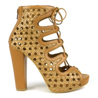 Mark and Maddux Kapono-06 Chunky Heel Platform Bootie in Tan @ ippolitan.com