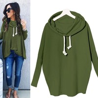 Fashion Women Casual Long Sleeve Hoodie Jumper Pullover Sweatshirt Tops Shirt (Green)
