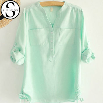 white pleated blouse ladies office shirts long sleeve linen shirt womens tops fashion  autumn cotton woman clothes plus size