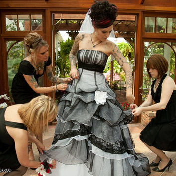 Gothic Wedding Dress in Black and White