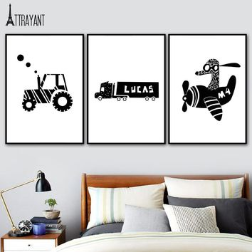 Airplane Tractors Car Black And White Wall Art Canvas Painting Nordic Posters And Prints Wall Pictures For Kids Room Home Decor