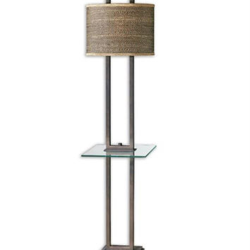 Table Floor Lamp - Polished Aged Bronze Body With Marble Foot And Tempered Glass Tray