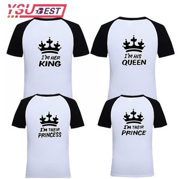 Cool 2018 Matching Family look Clothes Casual Solid Mommy and Me Clothes T-shirt King Queen Couples T shirt Crown Printed Funny TopsAT_93_12