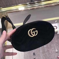Gucci Trending Women Shopping Bag Velvet Purse Waist Bag Single-Shoulder Bag Pockets Bag Black