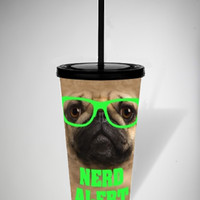Nerd Pug Cup with Straw