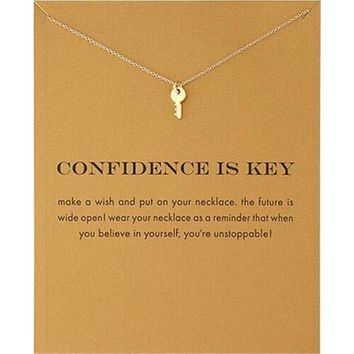 Fashion Key Necklace Women Pendant Clavicle Chain Statement Choker Necklaces Xmas Gift Card Collares Mothers Day Jewelry