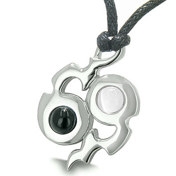 Amulet Yin Yang Infinity Symbol Magic Fire Energy Simulated Onyx White Cats Eye Pendant Necklace