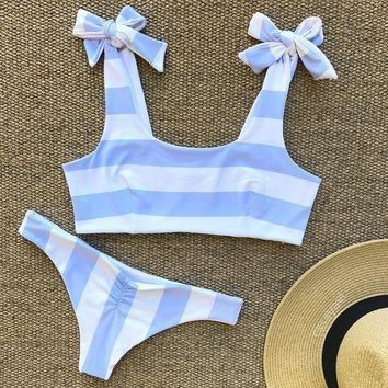 Fashion White Blue Stripe Print Shoulder Knot Beach Two Piece Bikini Swimsuit Swimwear