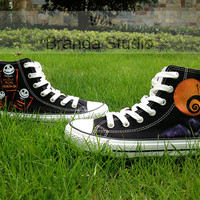 Nightmare Christmas Shoes,Studio Hand Painted Shoes 49.99Usd,Paint On Custom Converse Shoes Only 89Usd,Buy One Get One Phone Case Free