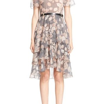 Jason Wu Floral & Glen Plaid Silk Chiffon Tiered Dress | Nordstrom