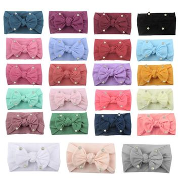 2019 Newborn Baby Girls Pearl Bow Headband  Elastic Baby Turban Hairband  Head Wrap Ears Warmer Headwear Girls Headbands
