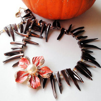 Brown Mother of Pearl Shell Stick, Spikes Necklace, Orange Focal Flower, Fall Autumn Statement Jewelry