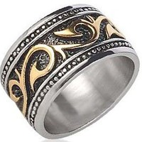Tribal Ring For Men (SIZE 7) - Stainless Steel Ring with 14K Gold IP - Rings for Men - (12mm). Celtic Irish Steel wedding band, wedding ring or Anniversary Ring. Stainless Steel Gothic Mens Rings size 8, 9, 10, 11, 12, 13 and are comfort fit. (7)