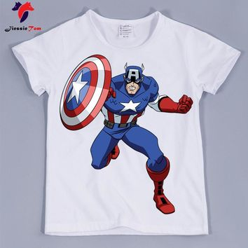 2018 Kids Summer Super Hero Captain America Design Funny T-Shirt Children Baby Hipster Cool Clothes Boys Girls Casual Top Tee