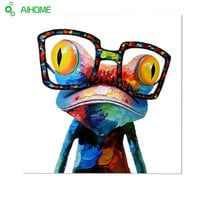 Happy Frog Without Frame Cartoon Oil Painting Canvas Abstract Animal Wall Art for Home Decoration