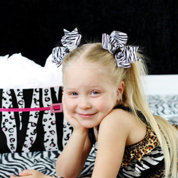 Zebra Print Bows, Zebra Bows, Stripe Bows, Basic Boutique Bows, Hairbows, 4 Inch Bows, Baby Bows, Pigtail Bows, Piggies, Pigtail Set