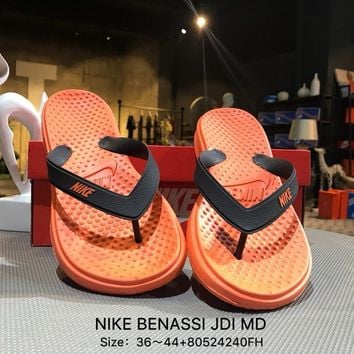 Nike BENASSI JDI MD Orange Fashion Sandals Flip Flops Shoes Sneaker