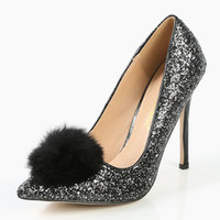 Pointy Toe Glitter Pom Pom Pumps BLACK | MakeMeChic.COM