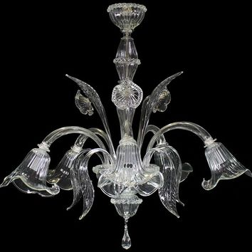 Handmade blown glass Chandelier L0090-5-C H2O Collection by MULTIFORME