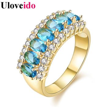 15% off Fashion Big Engagement Ring with Stones for Women New Year Gifts Gold Color Jewelry Rings with Crystals Bijouterie J501