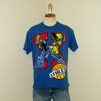 Vintage Rare 1993 X-MEN SUPERHERO GRAPHIC Survival Comic Movies Wolverine Medium Large Blue Cotton T-Shirt