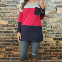 Block Patchwork Pocket Long Sleeve Shirt