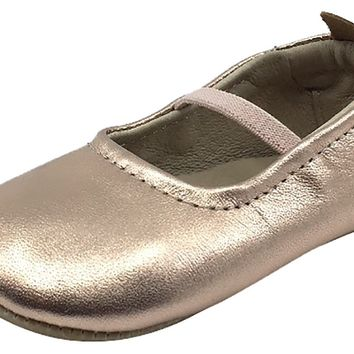 Old Soles Girl's 013 Luxury Ballet Flat Copper Soft Leather Elastic Mary Jane Crib Walker Baby Shoes
