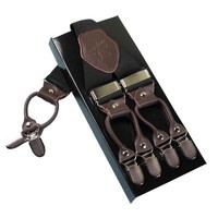 6 Clips Leather Suspenders for Men