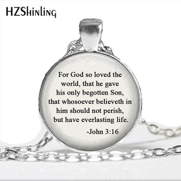 2017 God so loved the world Jewelry Scripture John 3:16 quote Necklace Trendy Bible Prayer Religious jewelry Christian Gift HZ1