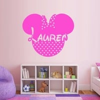 Write Your Name Wall Decal Vinyl Sticker Decals Art Decor Disney Custom Baby Name Head Mice Ears Mickey Minnie Mouse Gift Kid Children Nursery (M1317)