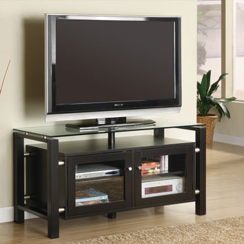 """Tv Stand - 46""""L - Black - Silver With Tempered Glass"""
