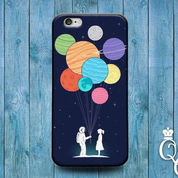 iPhone 4 4s 5 5s 5c SE 6 6s 7 plus iPod Touch 4th 5th 6th Gen Cool Cover Cute Hipster Funny Space Balloons Planets Blue Astronaut Case