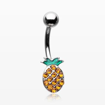 Juicy Sparkle Pineapple Belly Button Ring