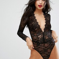 ASOS Lila Eyelash Lace Plunge Body at asos.com