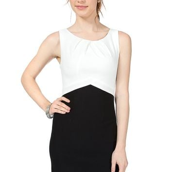 Teeze Me | Sleeveless Color Block Sheath Dress | Off-White/Black