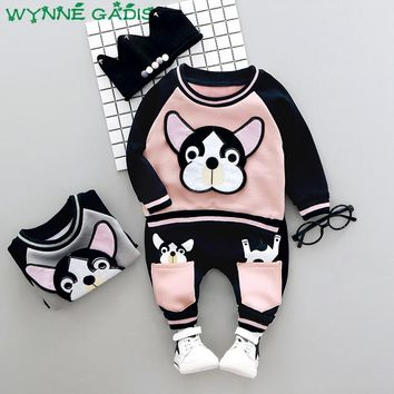 Winter Baby Boys Long Sleeve Cute Dog Fleece Hoodies Sweatshirt + Casual Trousers Kids Girls Two Pieces Suits Clothing Sets