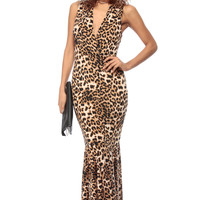 Fear Me Leopard Mermaid Maxi Dress