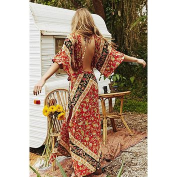 "Bohemian Maxi Dress ""Lo-lita"" Flutter Kimono Sleeves ""Campfire"" Rust Color Long Slits Cutout Sides Sizes Small Medium Or Large"