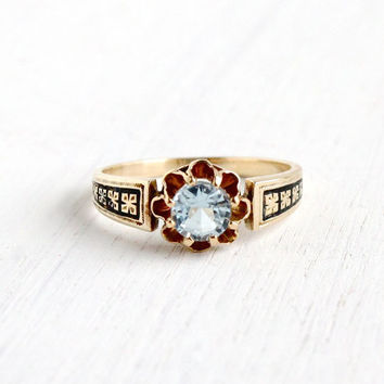SALE- Antique 14k Yellow Gold Blue Spinel Stone Ring - Vintage Victorian 1900s Size 6 1/4 Flower Fine Jewelry with Black Enamel Shoulders