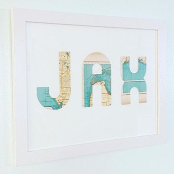 Airport Codes Vintage Map Wall Art