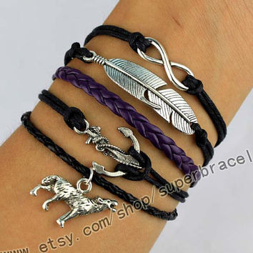 The Wolf, the anchor, infinity, feather Bracelet, Antique Silver Bracelet, wax rope, special friendship gifts, Christmas gifts