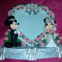 Cute and Adorable Disney Mickey Mouse and Minnie Mouse Wedding Heart Picture Frame