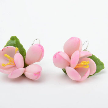 Handmade neat small earrings with tender pink cold porcelain apple flowers