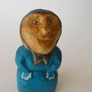 Old World Wise Woman Hand Carved Grandma Birthday Gift Good Luck Gift Optimist, Wise Woman